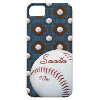 Caso de encargo de Iphone 5 del adorno del béisbol Funda Para iPhone 5 Barely There