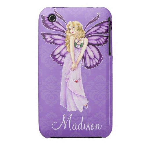 Caso de encargo del iPhone 3 del damasco púrpura d Case-Mate iPhone 3 Cobertura