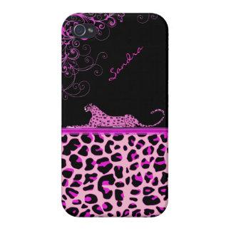 Caso de encargo del iPhone 4 de la impresión rosad iPhone 4 Fundas