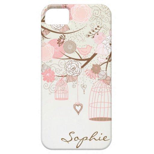 Caso de encargo del iPhone 5 de los Birdcages flor iPhone 5 Cobertura
