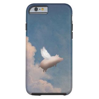 caso de encargo del iPhone 6 del cerdo del vuelo Funda De iPhone 6 Tough