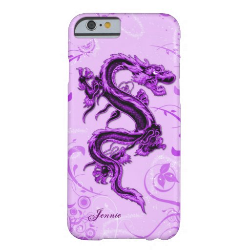 Caso de encargo del iPhone 6 del dragón púrpura Funda De iPhone 6 Barely There