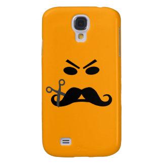 Caso de encargo sonriente de HTC del bigote enojad Funda Para Galaxy S4