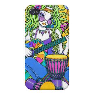 Caso de hadas de IPhone 4 del Hippie de la guitarr iPhone 4 Cárcasas