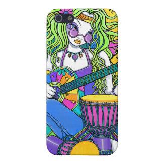 Caso de hadas de IPhone 4 del Hippie de la guitarr iPhone 5 Coberturas