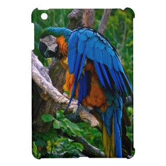 Caso de IPad del Macaw del azul y del oro mini