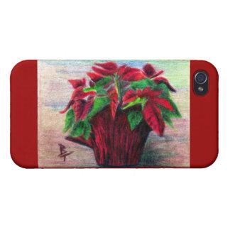 Caso de IPhone 4 del Poinsettia iPhone 4/4S Carcasas