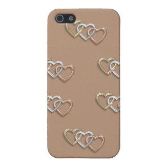 Caso de Iphone 4 del trío del corazón que entrelaz iPhone 5 Protectores