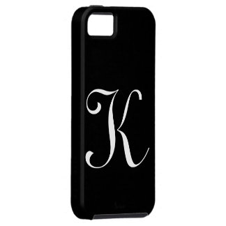 Caso de IPhone 5 del negro del monograma de K iPhone 5 Case-Mate Cobertura