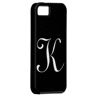 Caso de IPhone 5 del negro del monograma de K Funda Para iPhone 5 Tough