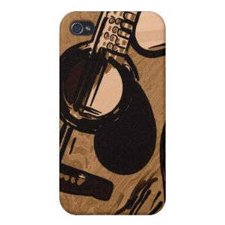 Caso de Iphone con el dibujo de la guitarra de Bro iPhone 4/4S Carcasas