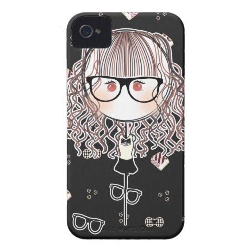 Caso de Iphone de la muñeca de los vidrios de Kawa iPhone 4 Carcasa