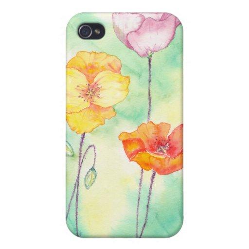 Caso de Iphone de las amapolas iPhone 4 Fundas