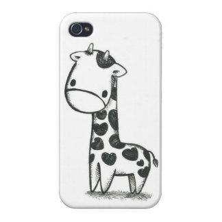 Caso de IPhone del amor de la jirafa iPhone 4 Protector