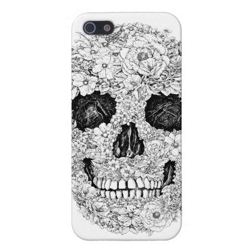 Caso de Iphone del cráneo de la flor iPhone 5 Funda