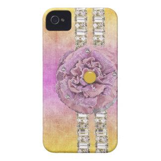 Caso de IPhone del diamante artificial de la flor iPhone 4 Case-Mate Protector
