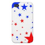 Caso de Iphone - estrellas blancas y azules rojas iPhone 4 Fundas