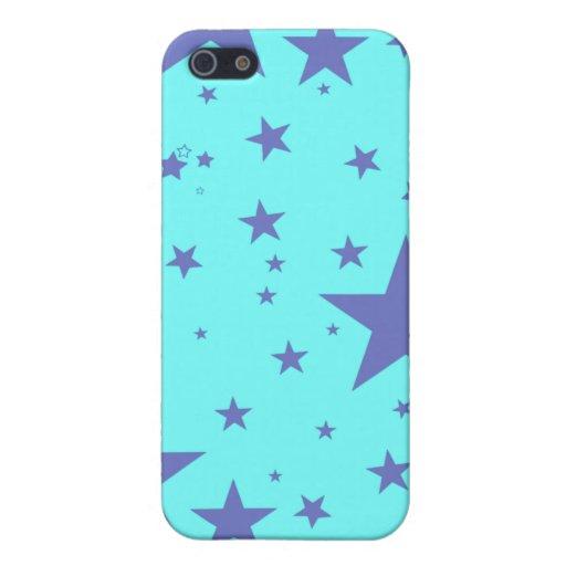 Caso de Iphone - estrellas del azul y de la púrpur iPhone 5 Carcasas