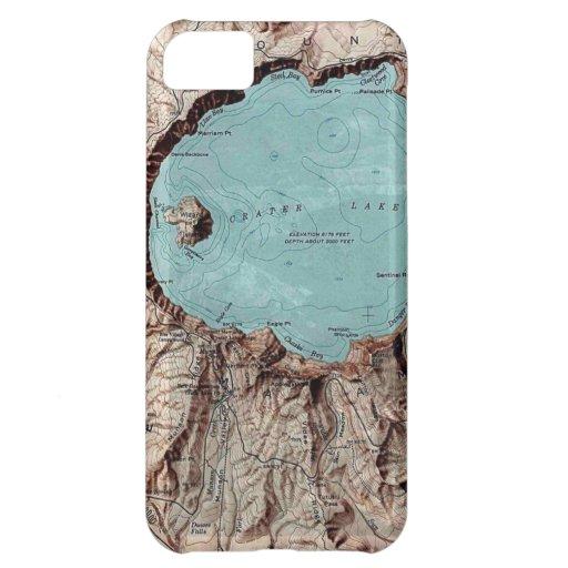 Caso de la carta de la topografía del lago crater funda para iPhone 5C