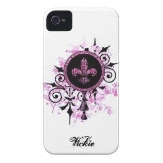 Caso de la flor de lis del Grunge iPhone 4 Cárcasa