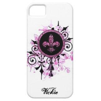 Caso de la flor de lis del Grunge iPhone 5 Case-Mate Carcasas
