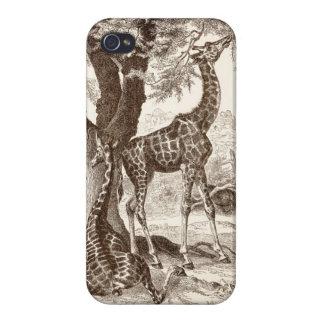 caso de la jirafa del vintage - plantilla modifica iPhone 4 cárcasa