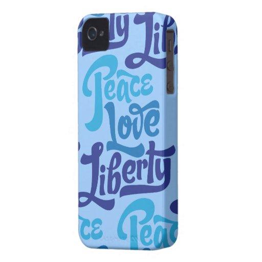 Caso de la libertad del amor de la paz Case-Mate iPhone 4 cárcasas