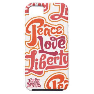Caso de la libertad del amor de la paz iPhone 5 carcasa