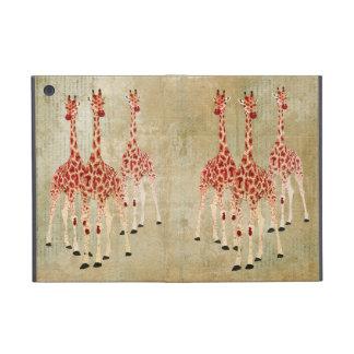 Caso de las jirafas del rosa rojo iPad mini fundas
