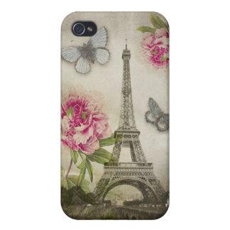Caso de los Peonies iPhone4 de la torre Eiffel de  iPhone 4 Protectores