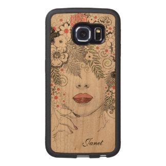 Caso de madera abstracto del borde de Samsung S6