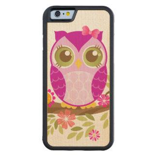 Caso de madera de Kawaii del búho púrpura lindo Funda De iPhone 6 Bumper Arce