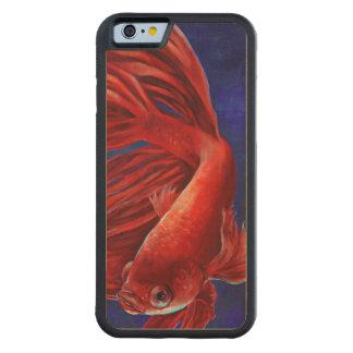 Caso de madera de la pintura de los pescados de funda de iPhone 6 bumper arce