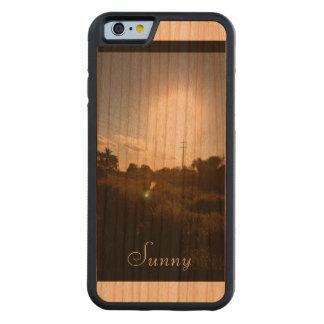 Caso de madera de parachoques de Sun de la cosecha Funda De iPhone 6 Bumper Cerezo