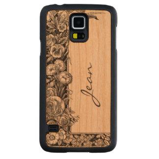 Caso de madera de Samsung S5 del estampado de Funda De Galaxy S5 Slim Cerezo