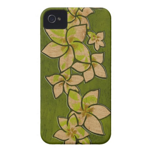 Caso de madera del iPhone 4 del Plumeria hawaiano iPhone 4 Case-Mate Protectores