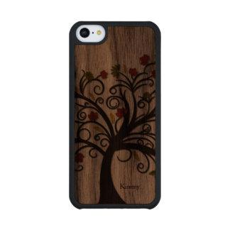 Caso de madera del iPhone 5C del árbol de la caída Funda De iPhone 5C Slim Nogal