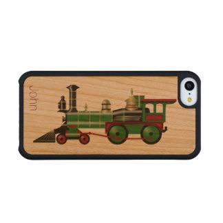 Caso de madera del iPhone 5C del motor del tren Funda De iPhone 5C Slim Cerezo