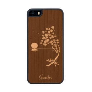 Caso de madera del iPhone 5S de las flores de Funda De Madera Para iPhone 5