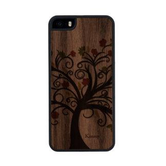 Caso de madera del iPhone 5S del árbol de la caída Funda De Nogal Carved® Para iPhone 5 Slim