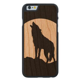 Caso de madera del iPhone 6 de la silueta del lobo Funda De iPhone 6 Carved® Slim De Cerezo