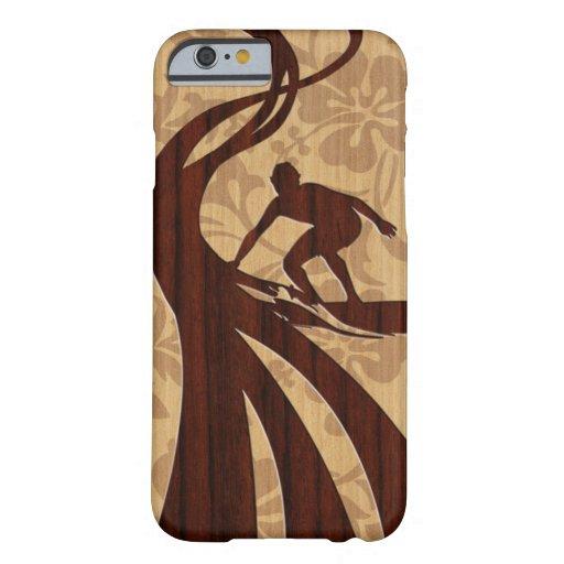 Caso de madera del iPhone 6 de la tabla hawaiana Funda De iPhone 6 Barely There