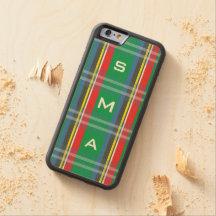 Caso de madera del iPhone 6 de la tela escocesa