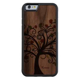 Caso de madera del iPhone 6 del árbol de la caída Funda De iPhone 6 Bumper Nogal