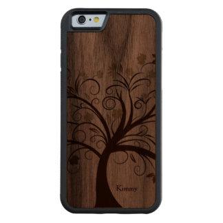 Caso de madera del iPhone 6 del árbol estilizado Funda De iPhone 6 Bumper Nogal