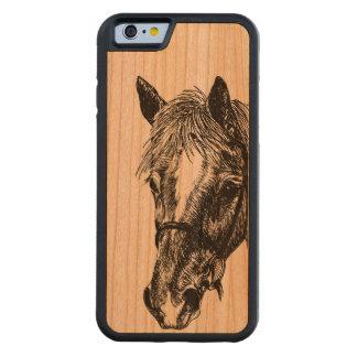 """Caso de madera del iPhone 6 del caballo """"sedoso"""" Funda De iPhone 6 Bumper Cerezo"""