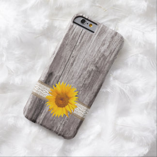 Caso de madera del iPhone 6 del fondo del girasol Funda De iPhone 6 Barely There