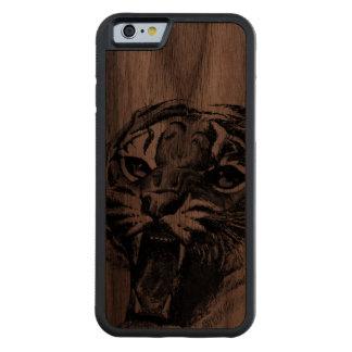 caso de madera del iPhone 6 del tigre