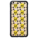 Caso de madera del iPhone amarillo 6 del cráneo y