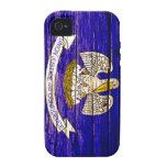Caso de madera del iPhone de la bandera de Luisian Case-Mate iPhone 4 Fundas